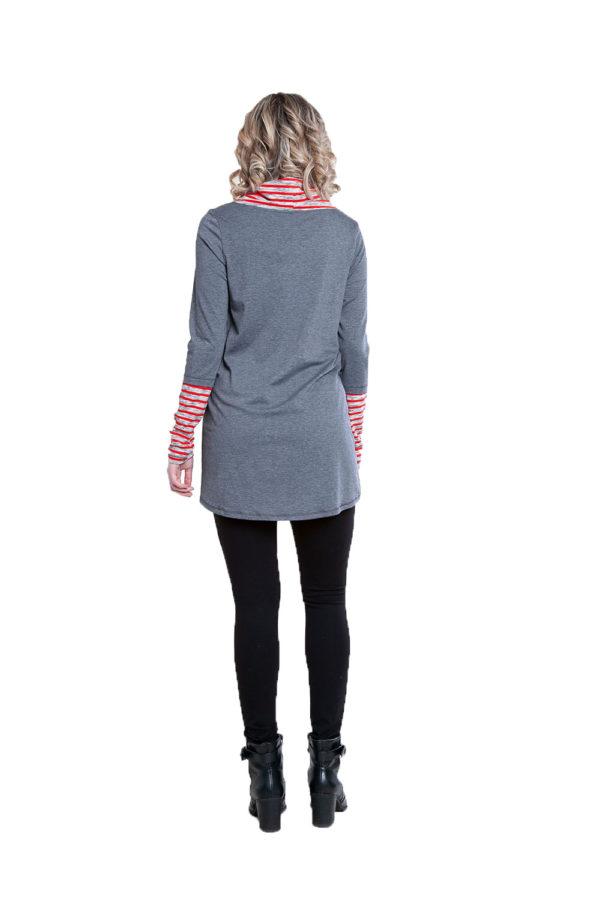 grey striped cowl neck tunic- back