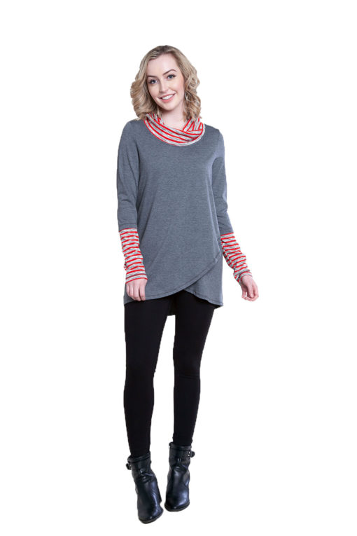 grey striped cowl neck tunic- front