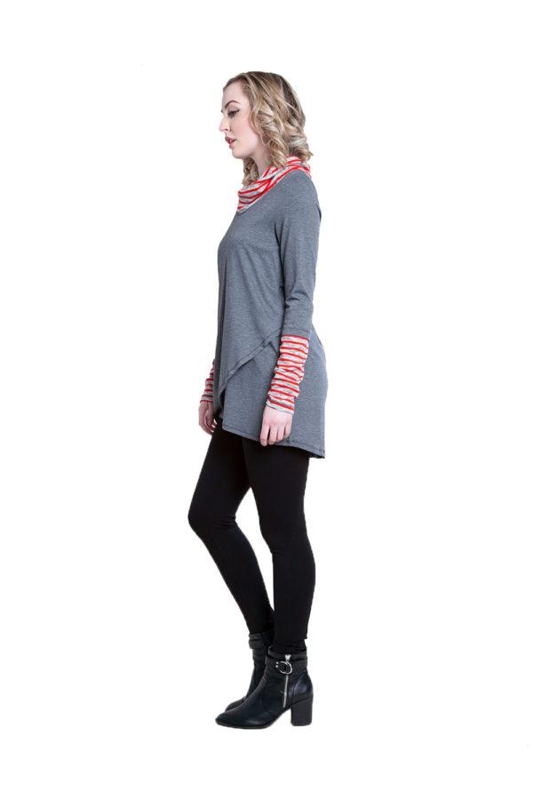 grey striped cowl neck tunic- side