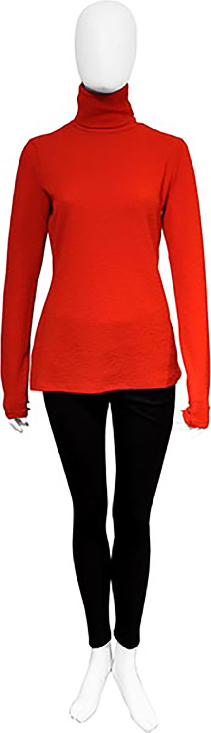 lightweight red turtleneck- front