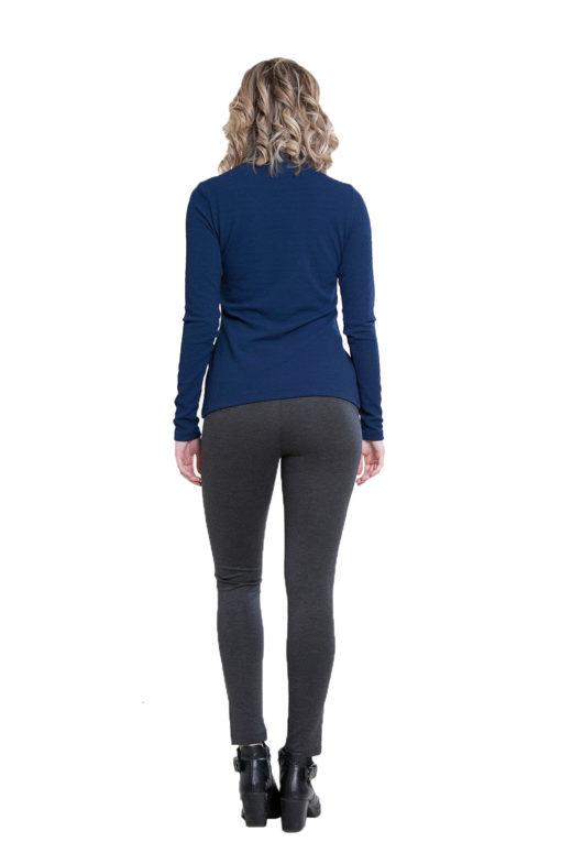 blue turtleneck top- back
