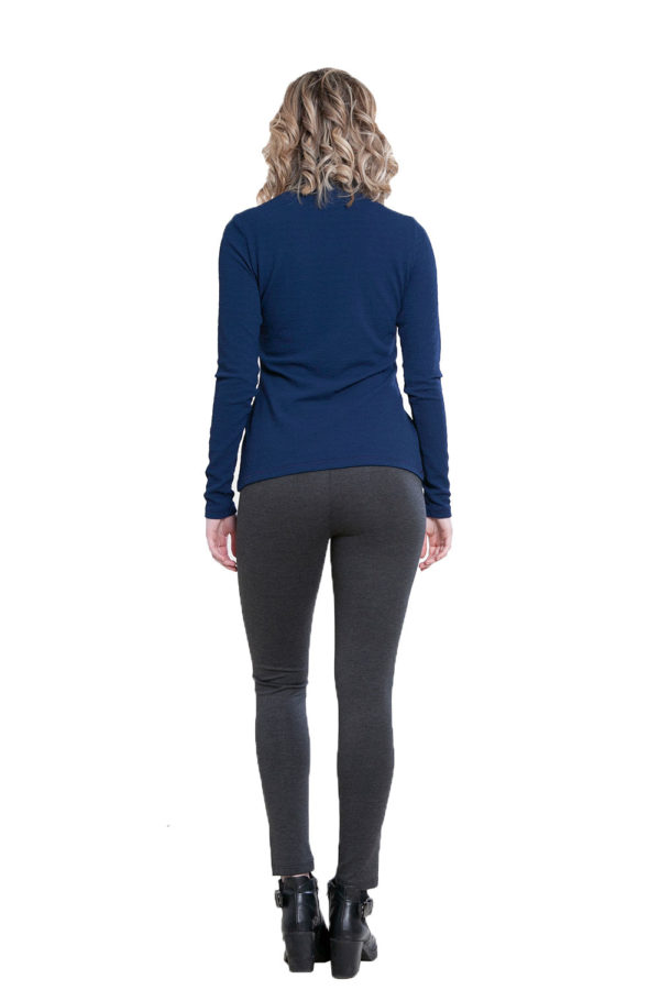 blue turtleneck top- back