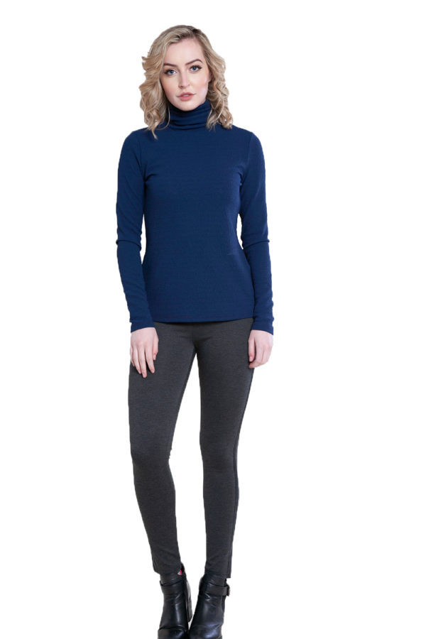 blue turtleneck top- front