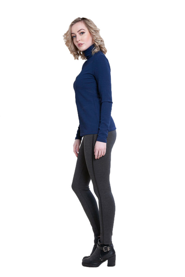 blue turtleneck top- side