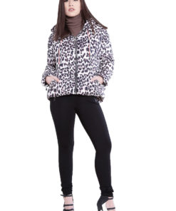 leopard printed puffy coat- front