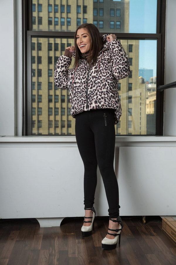 leopard printed puffy coat- side