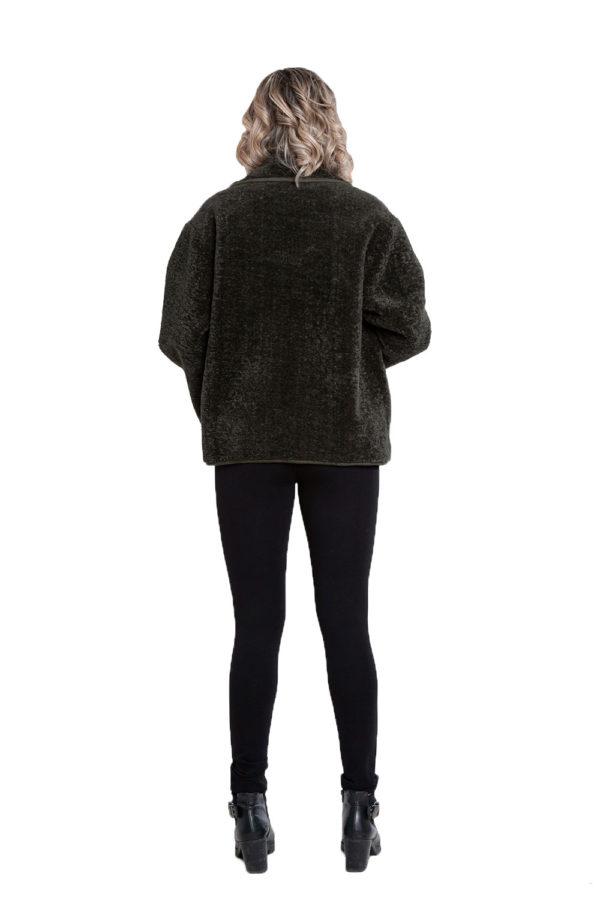 faux fur olive reversible jacket- back