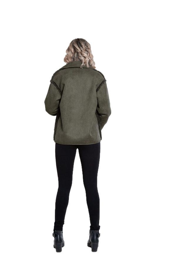 faux suede olive reversible jacket- back