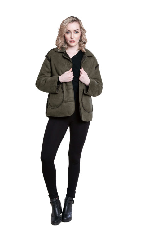 faux suede olive reversible jacket- front