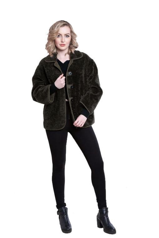 faux fur olive reversible jacket- front