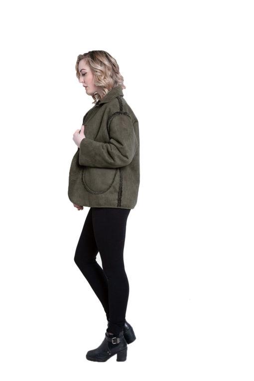 faux suede olive reversible jacket- side