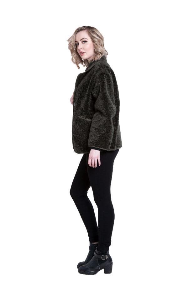 faux fur olive reversible jacket- side