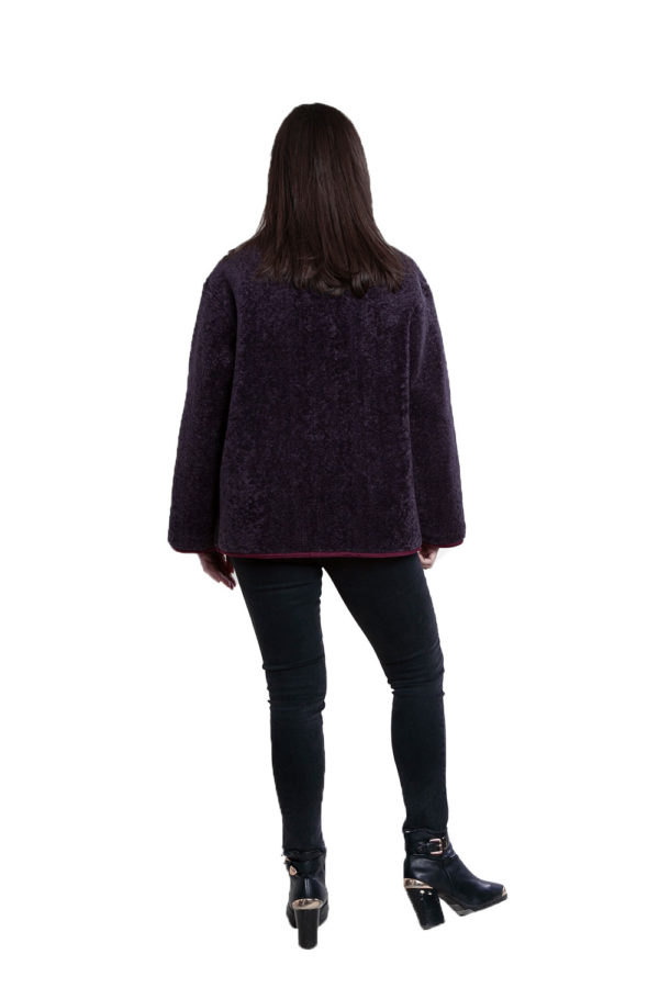 faux fur purple reversible jacket- back