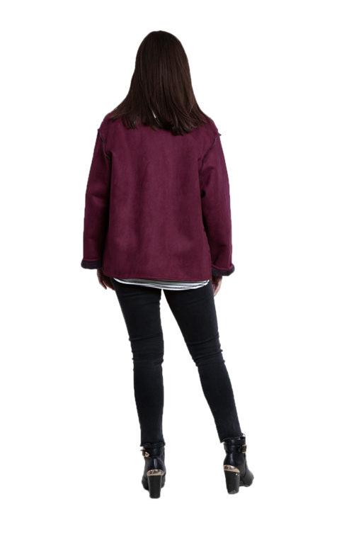 faux suede purple reversible jacket- back