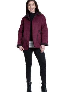 faux suede purple reversible jacket- front
