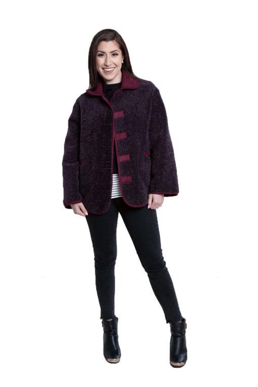 faux fur purple reversible jacket- front