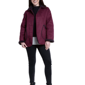 faux suede purple reversible jacket- front