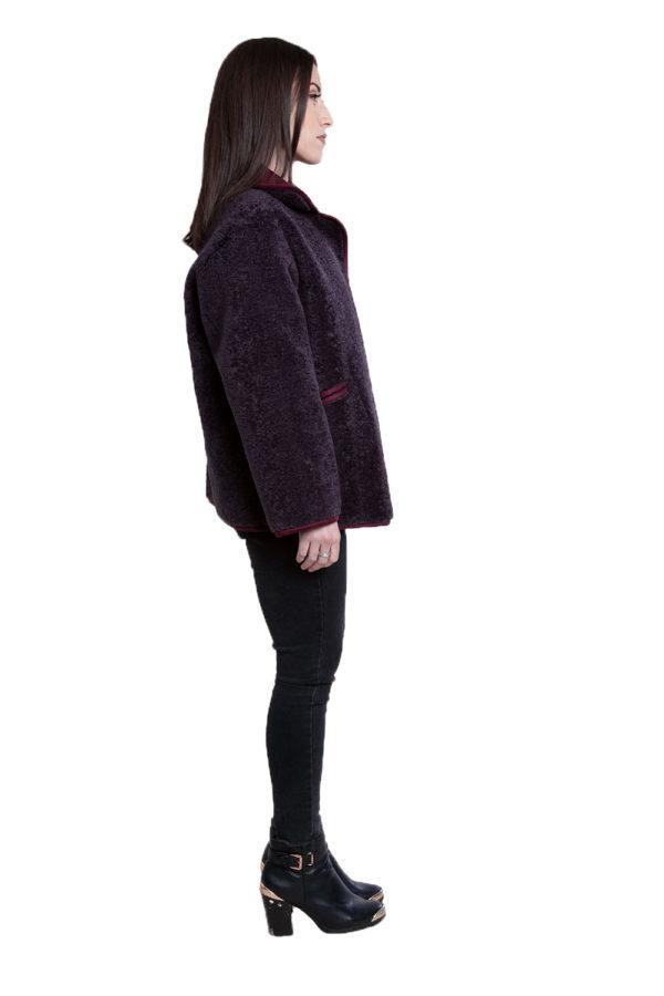 faux fur purple reversible jacket- side