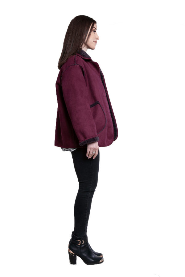 faux suede purple reversible jacket- side