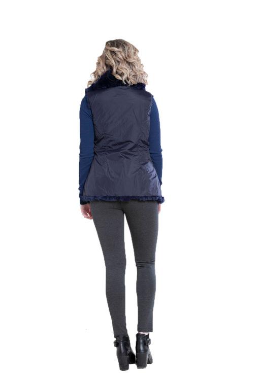 reversible navy fur vest- back