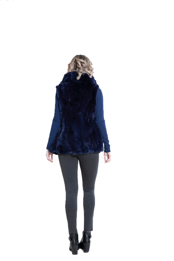 reversible navy fur vest- back