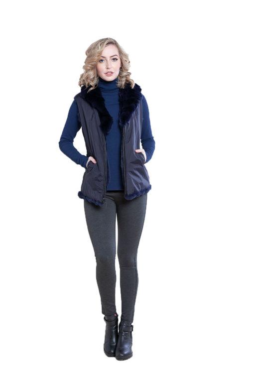reversible navy fur vest- front