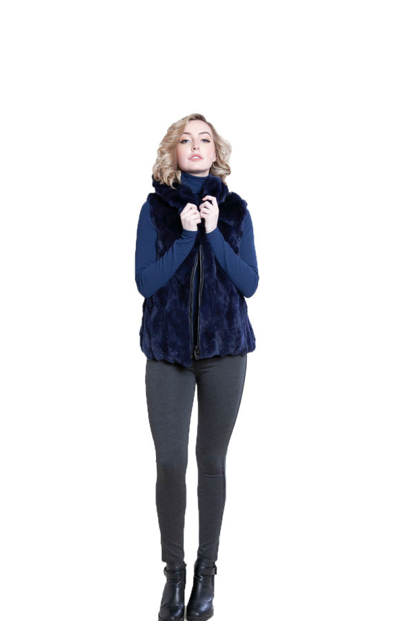 reversible navy fur vest- front