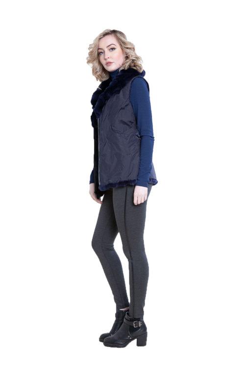 reversible navy fur vest- side
