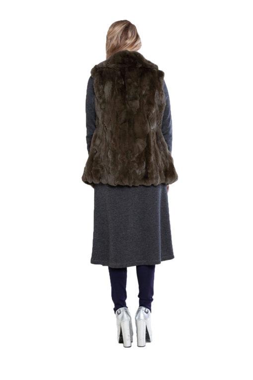 reversible olive fur vest- back