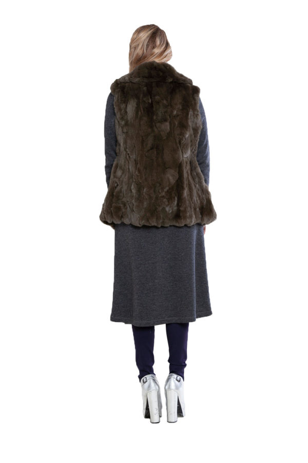 reversible olive fur vest- back