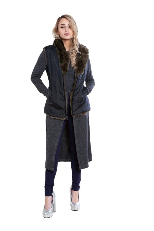 reversible olive fur vest- front