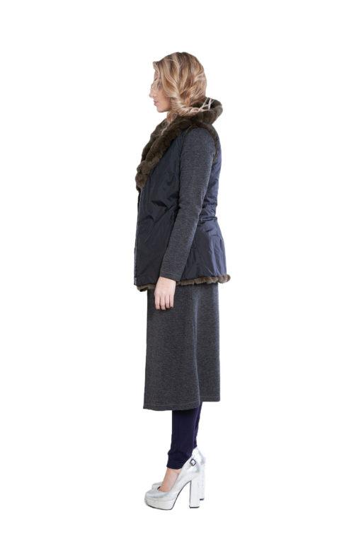 reversible olive fur vest- side