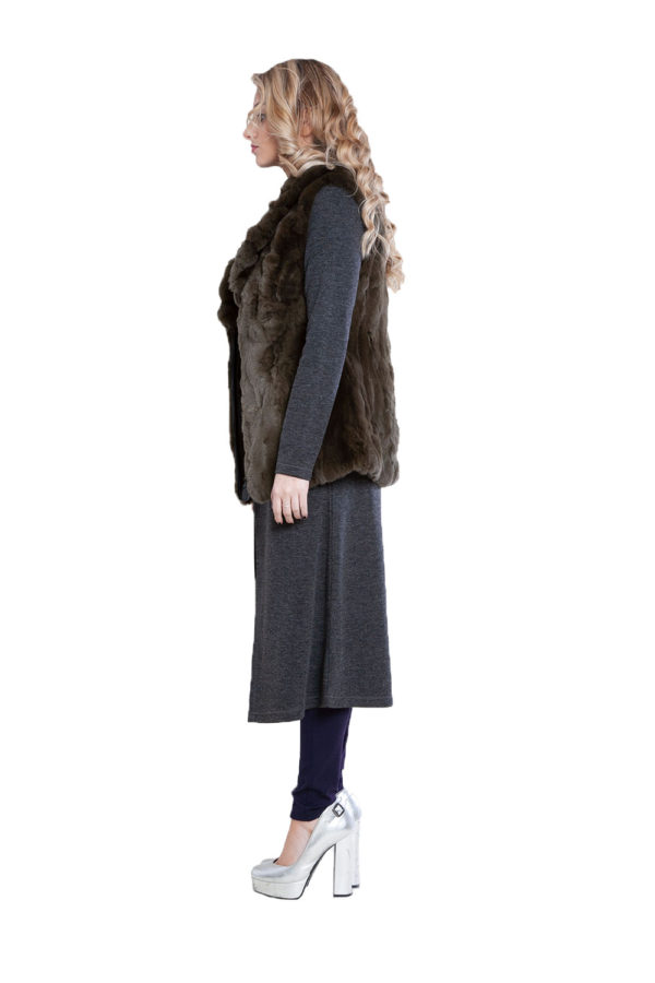 reversible olive fur vest- side