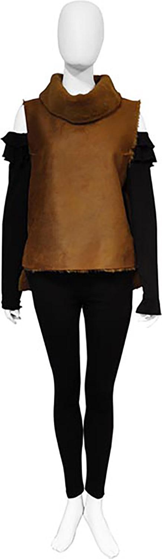 reversible faux fur camel vest- front