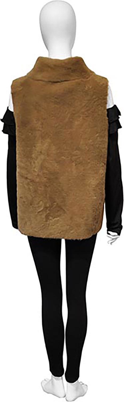 reversible faux fur camel vest- back