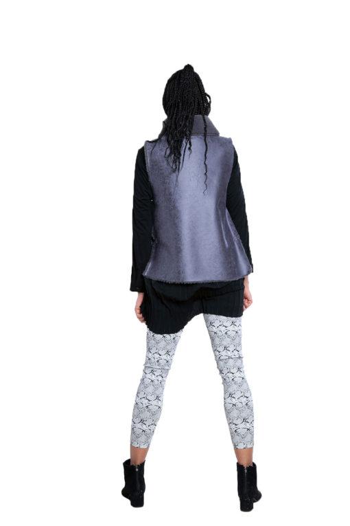 reversible grey faux fur vest- back