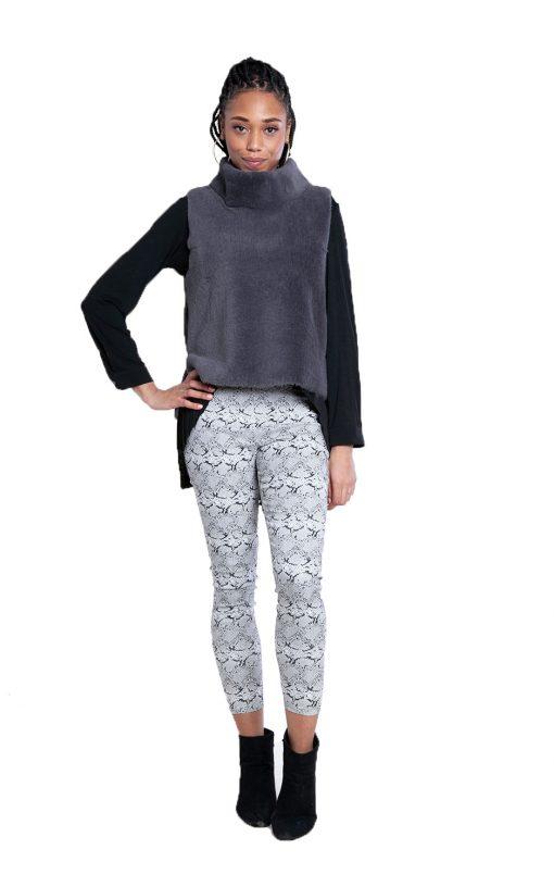 reversible grey faux fur vest- front