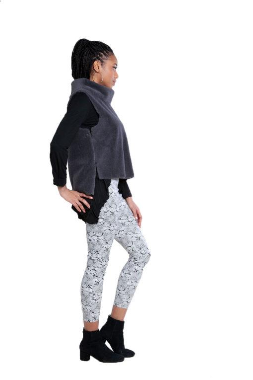 reversible faux fur grey vest- side