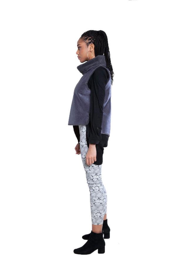 reversible faux fur grey vest