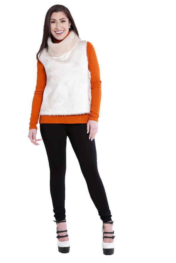 reversible faux fur natural vest- front