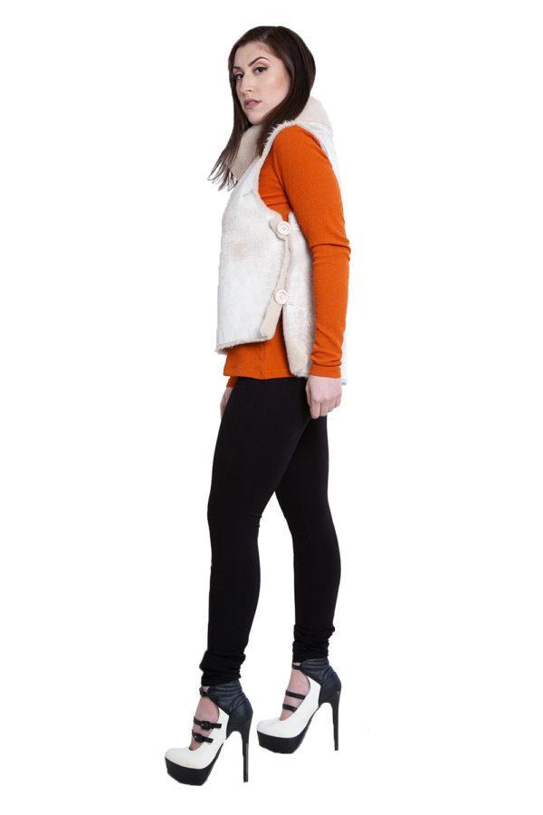 reversible faux fur natural vest- side