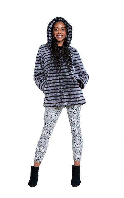 grey faux fur jacket- front