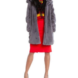 grey faux fur long coat- front