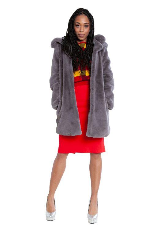 grey faux fur long coat- front