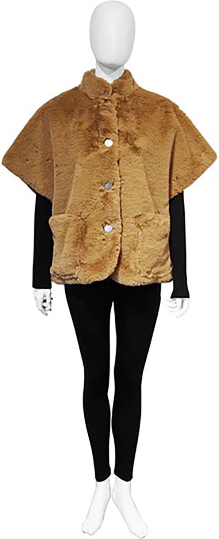 short beige faux fur jacket- front