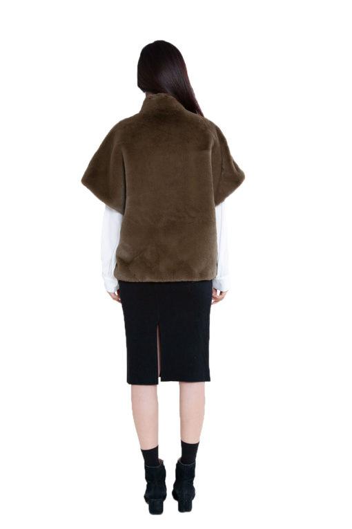 short olive faux fur jacket- back