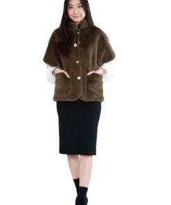 short olive faux fur jacket- front