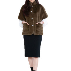 short olive faux fur jacket- front