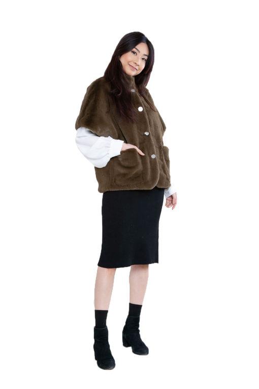 short olive faux fur jacket- side