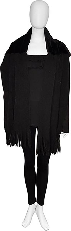 black faux fur scarf- front
